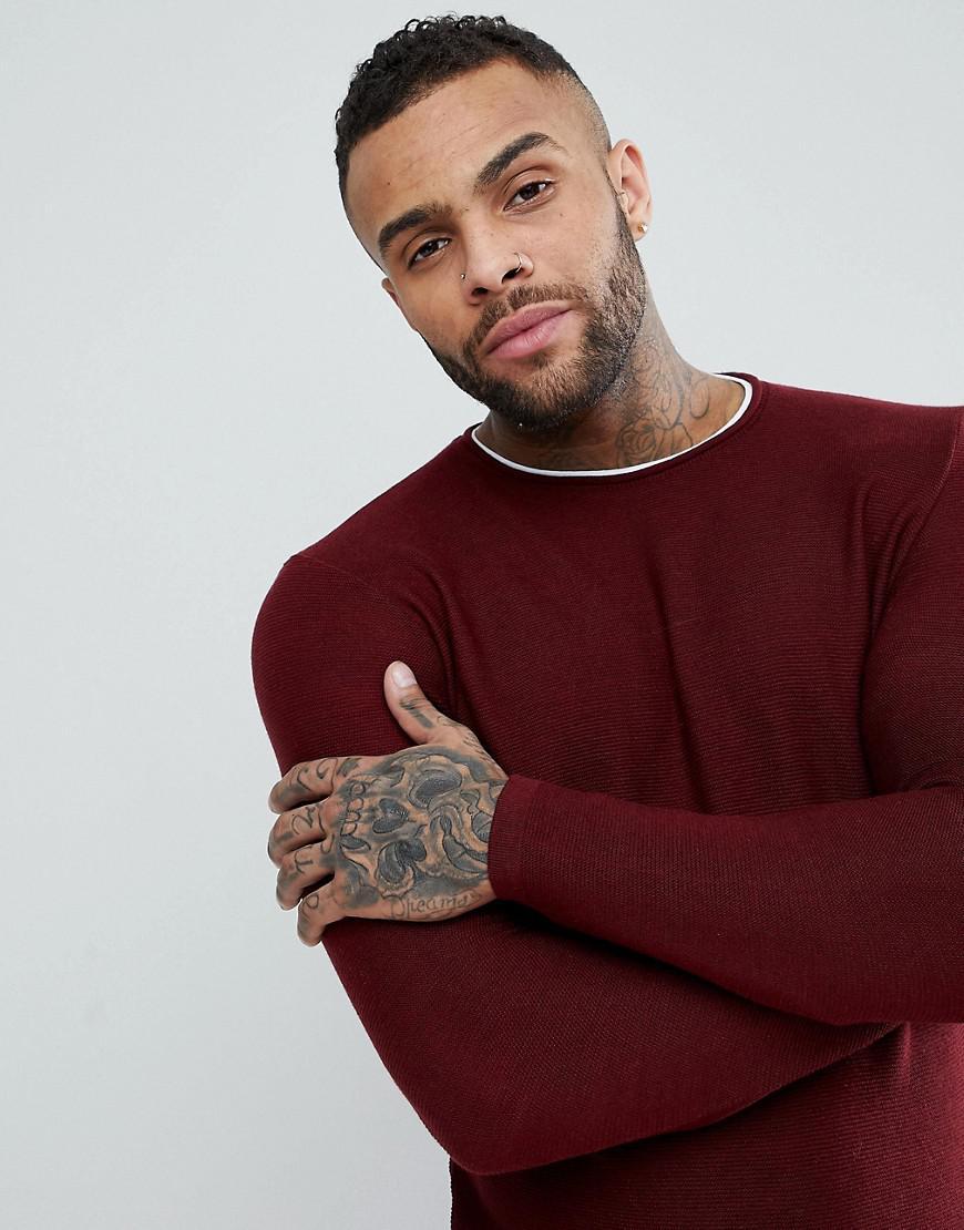 Pull&Bear Denim Double Layer Sweatshirt In Burgundy in Red for Men