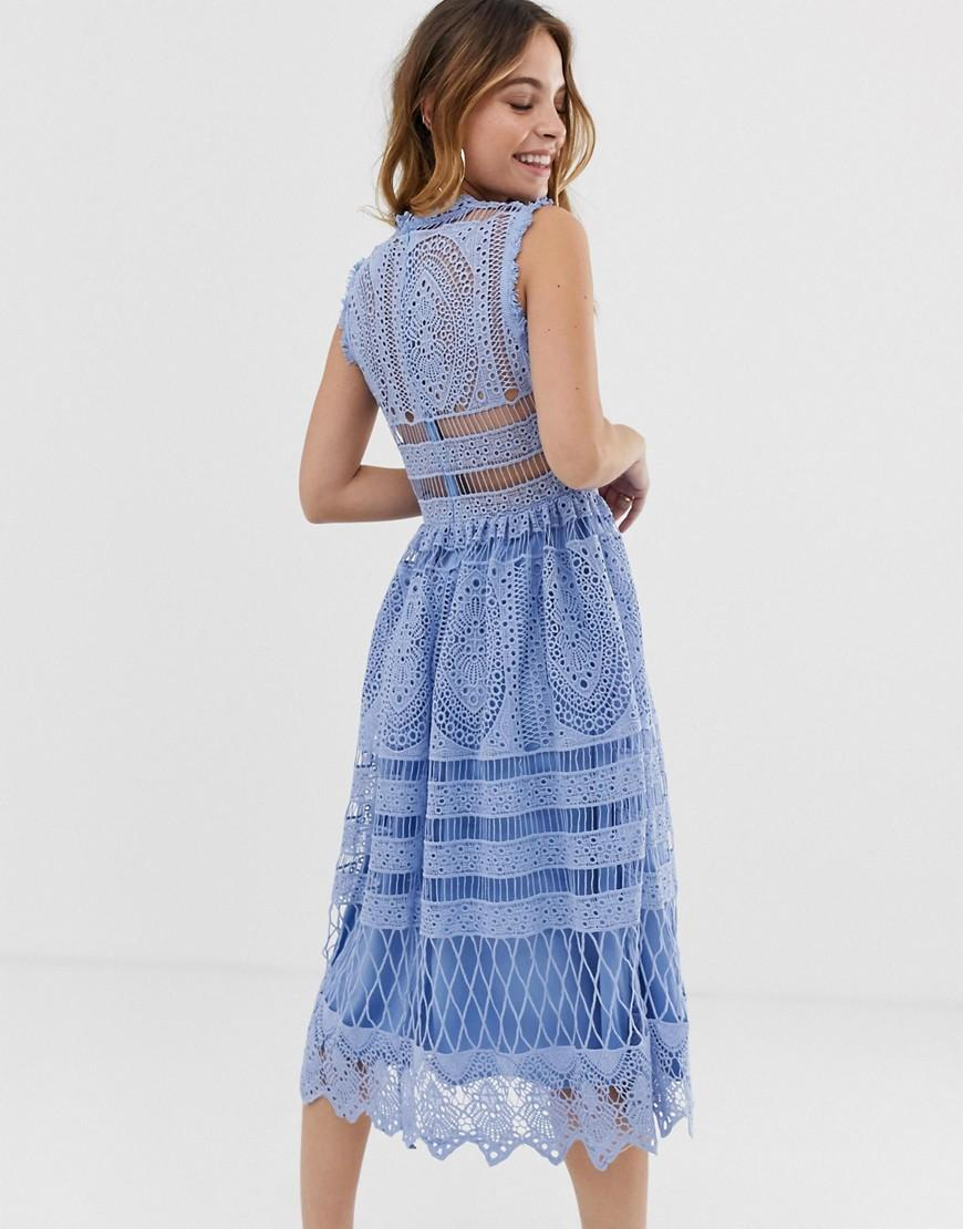 Exclusive Crochet Lace Midi Dress In Light Blue