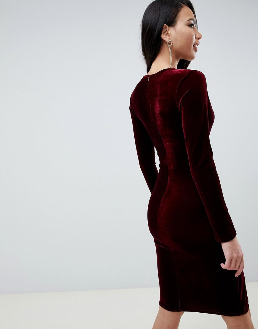 Lyst - TFNC London Velvet Midi Wrap Dress With Twisted Waistband In  Burgundy in Red 620955e2d