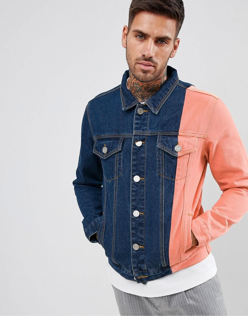 65217a60b595 Lyst - BoohooMAN Color Block Denim Jacket In Blue Wash in Blue for Men
