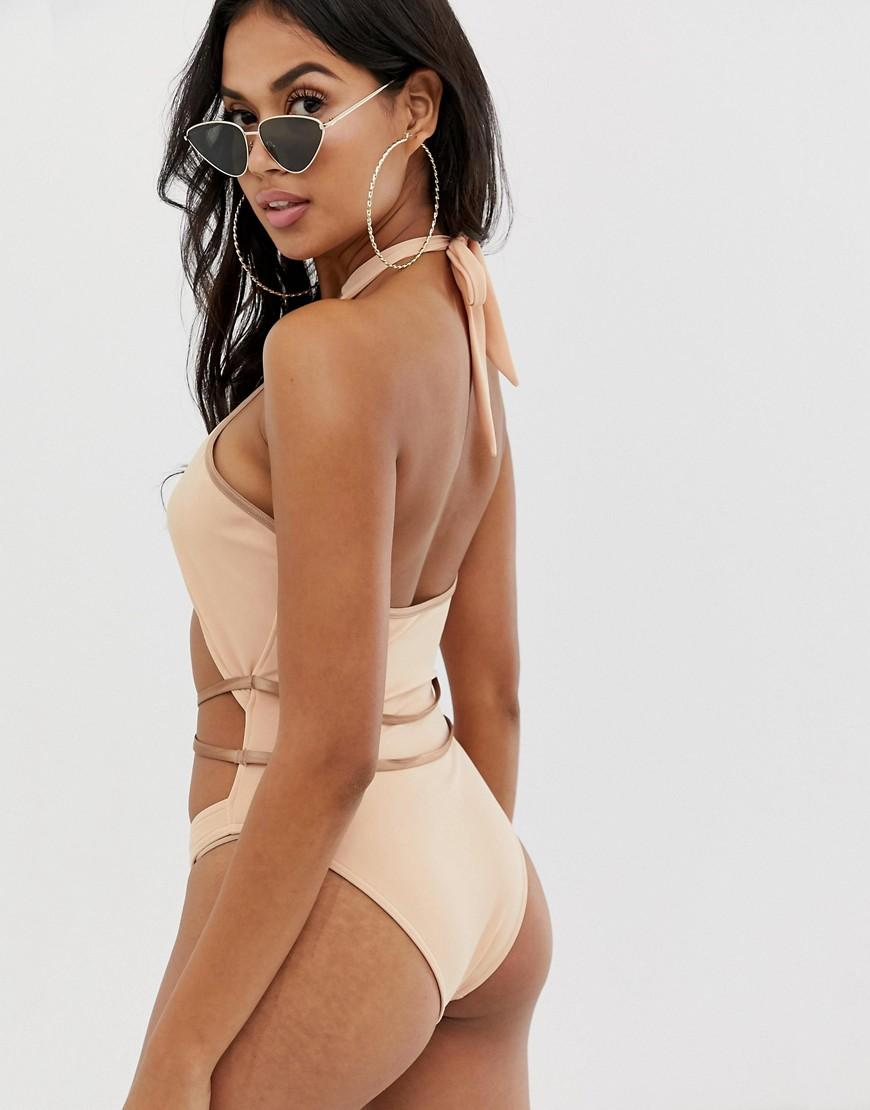 a58faf8a07408 Lyst - ASOS Cross Neck Strappy High Leg Swimsuit In Light Mink in Pink
