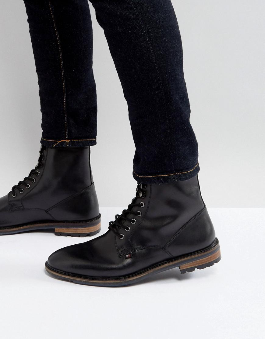 d09af2f2c42 Ben Sherman Military Lace Up Boots In Black Leather for men