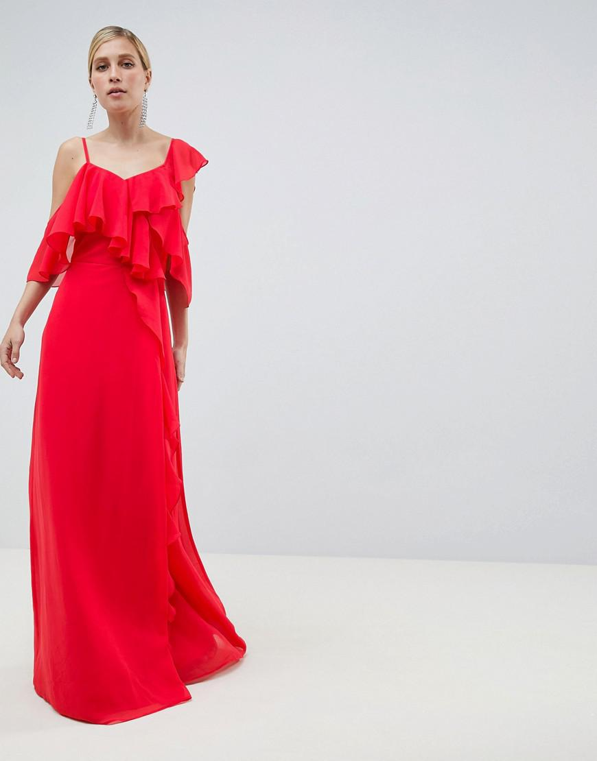 07ab84ccdd Lyst - ASOS Wrap Maxi Dress With Ruffles in Red
