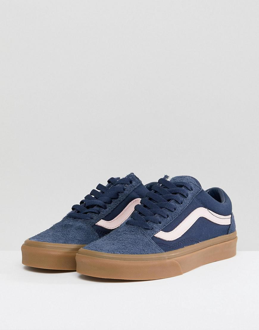 596cb78e Vans Old Skool Unisex Trainers In Blue Fuzzy Suede With Gum Sole