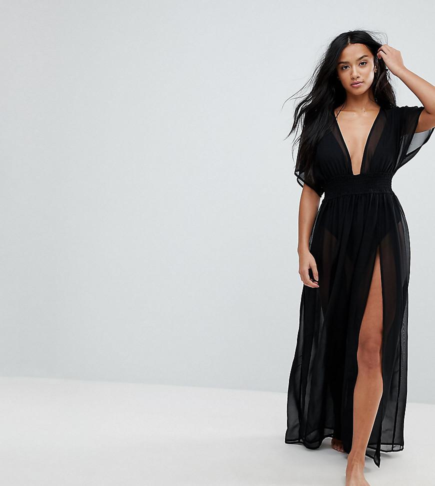 264362da2c ASOS. Women's Black Asos Design Petite Shirred Waist Maxi Chiffon Beach  Caftan