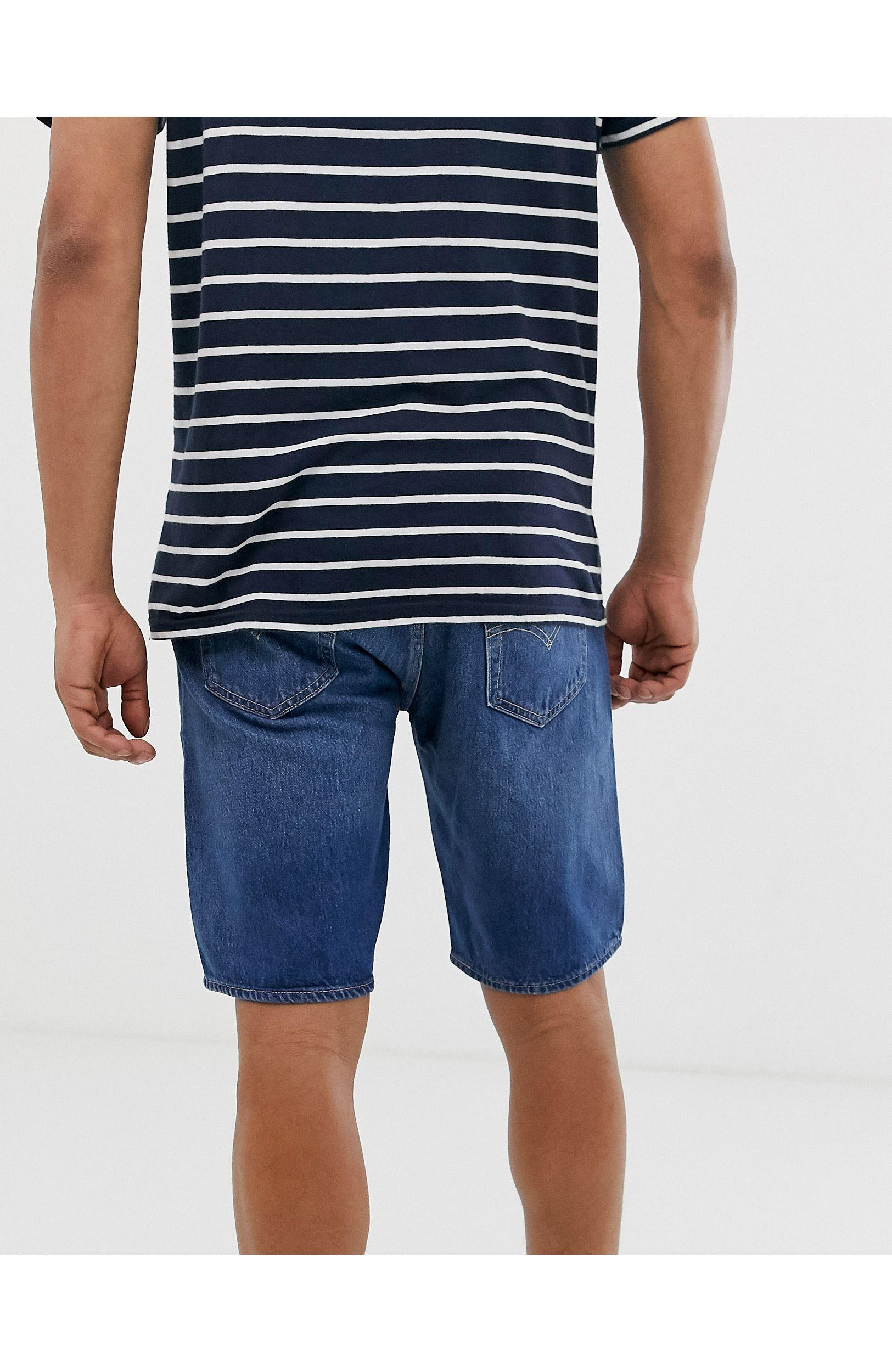 Levi's 501 - Denim Short Met Rechte Pijpen En Gewone Taille Met Zoom in het Blauw voor heren
