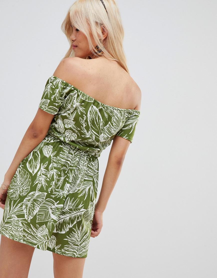 15ebfbc09f1 Lyst - ASOS Asos Design Petite Bardot Sundress With Tie Front In Palm Print  in Green