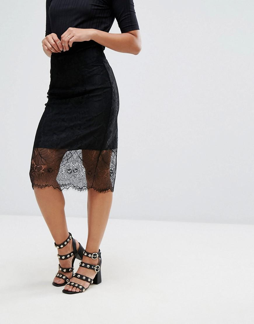 f0766a6d Ganni California Lace Layered Skirt in Black - Lyst