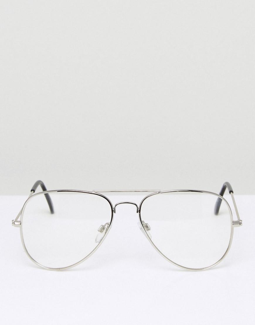 da33b7ebe8 ASOS Aviator Glasses With Clear Lens In Silver in Metallic for Men - Lyst