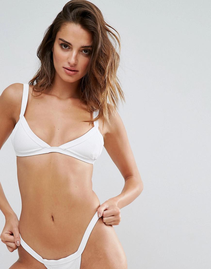 7cb58bd4236 TWIIN Rib Triangle Bikini Top in White - Lyst