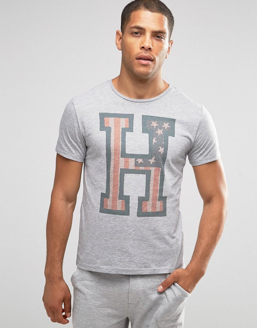lyst tommy hilfiger logo crew neck t shirt in regular fit in gray for men. Black Bedroom Furniture Sets. Home Design Ideas
