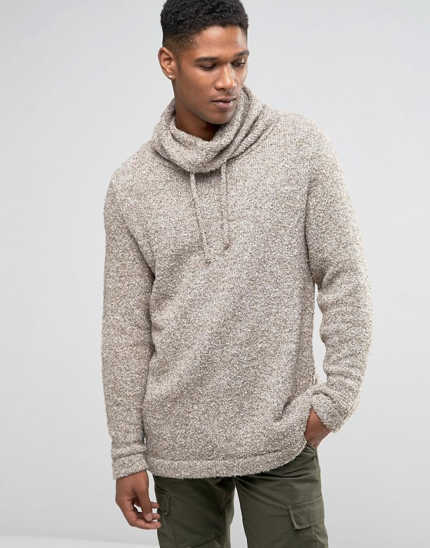 Asos Jumper With Oversized Cowl Neck In Teddy Yarn in Natural for ...
