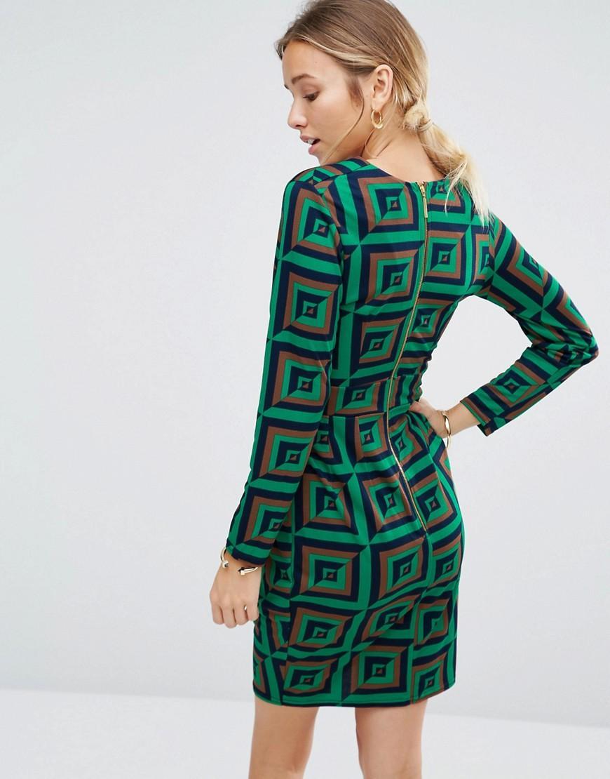 Closet Synthetic Closet Geo Print Cross Over Long Sleeve Dress in Green