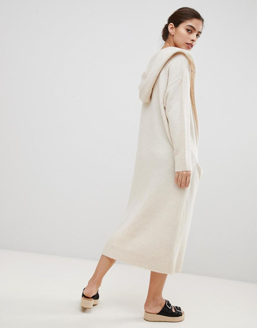 0c68f3d373 Lyst - Micha Lounge Luxe Oversized Longline Cardigan With Hood in Natural