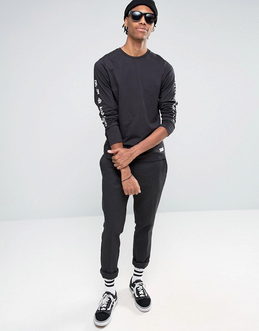 Lyst hype long sleeve t shirt with arm print in black for Shirts for men with long arms