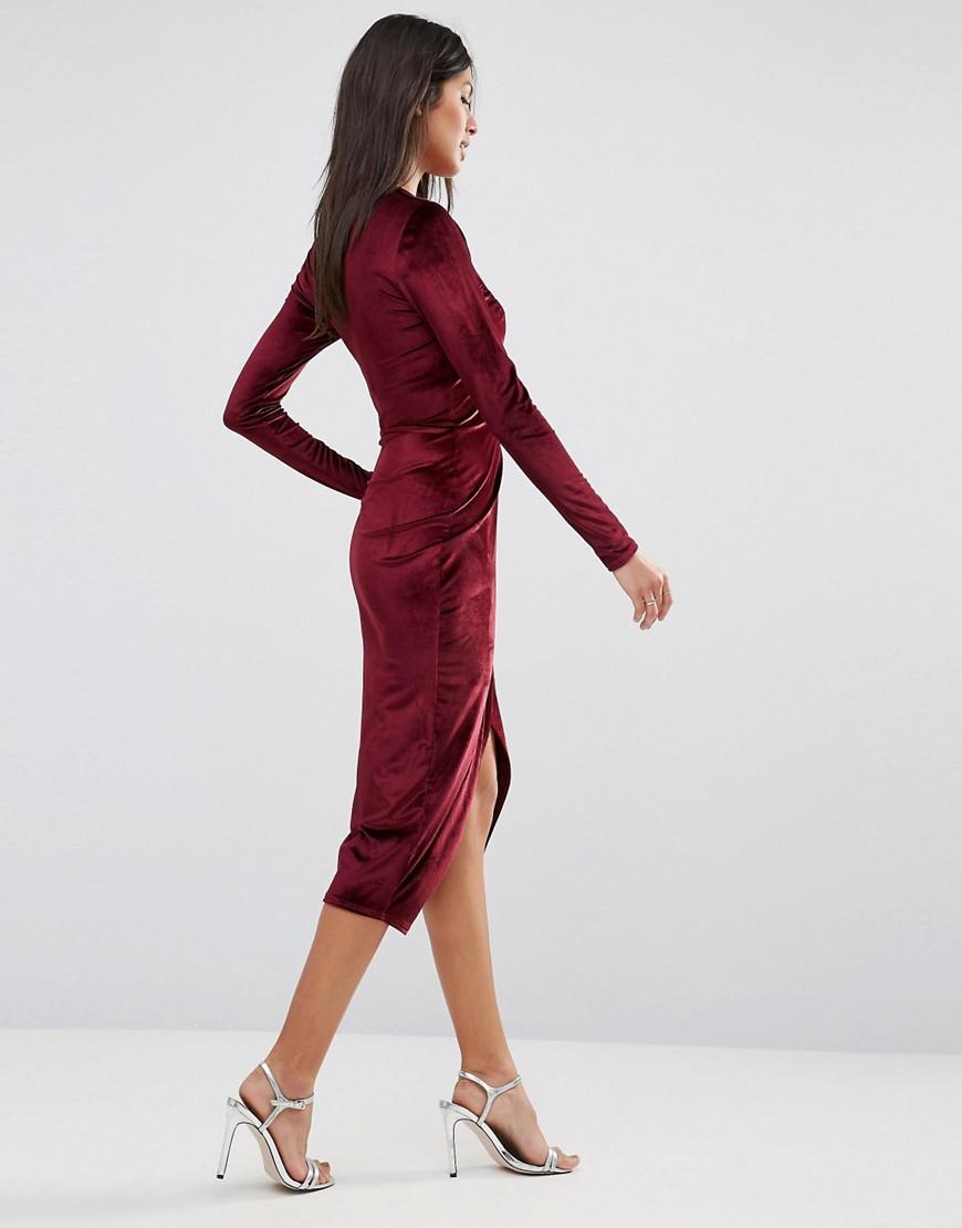 Club L Deep V Asymmetric Wrap Over Midi Dress In Velvet In