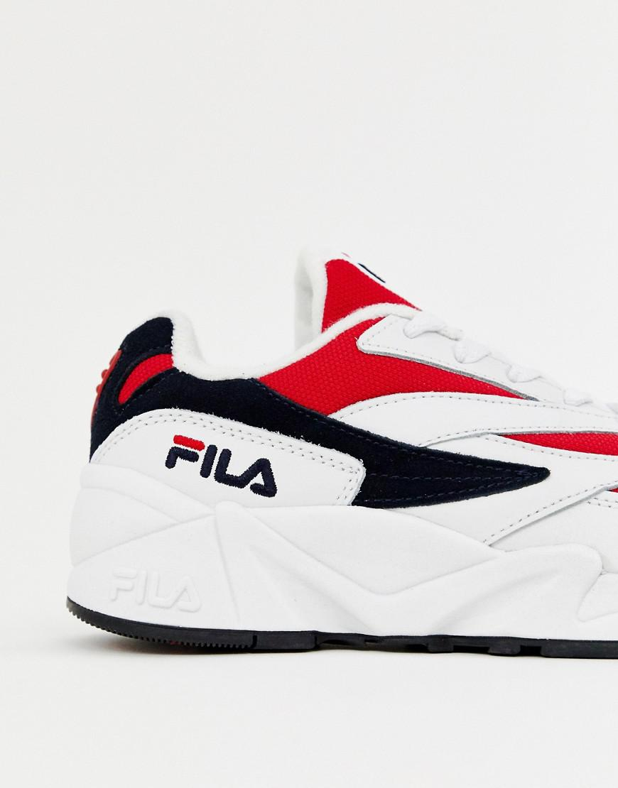 Fila Leather White Red And Navy Venom