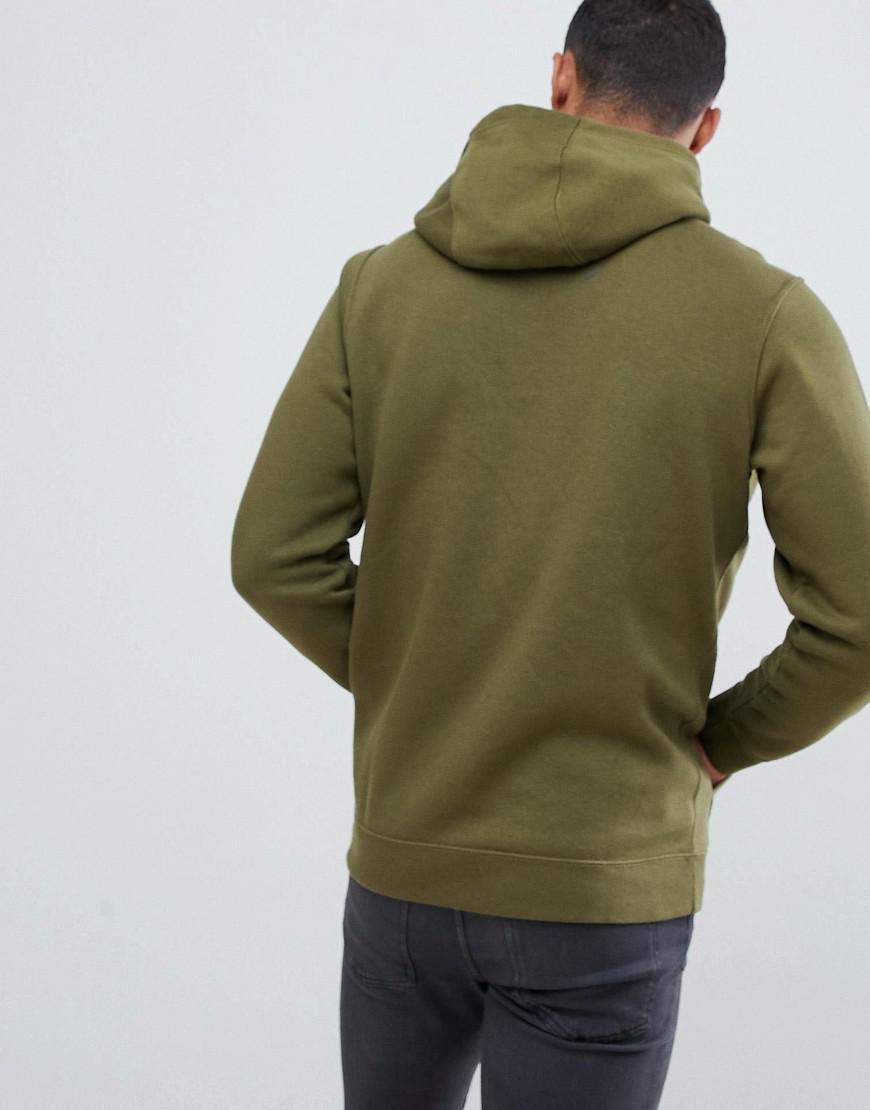 nike club swoosh pullover hoodie in green