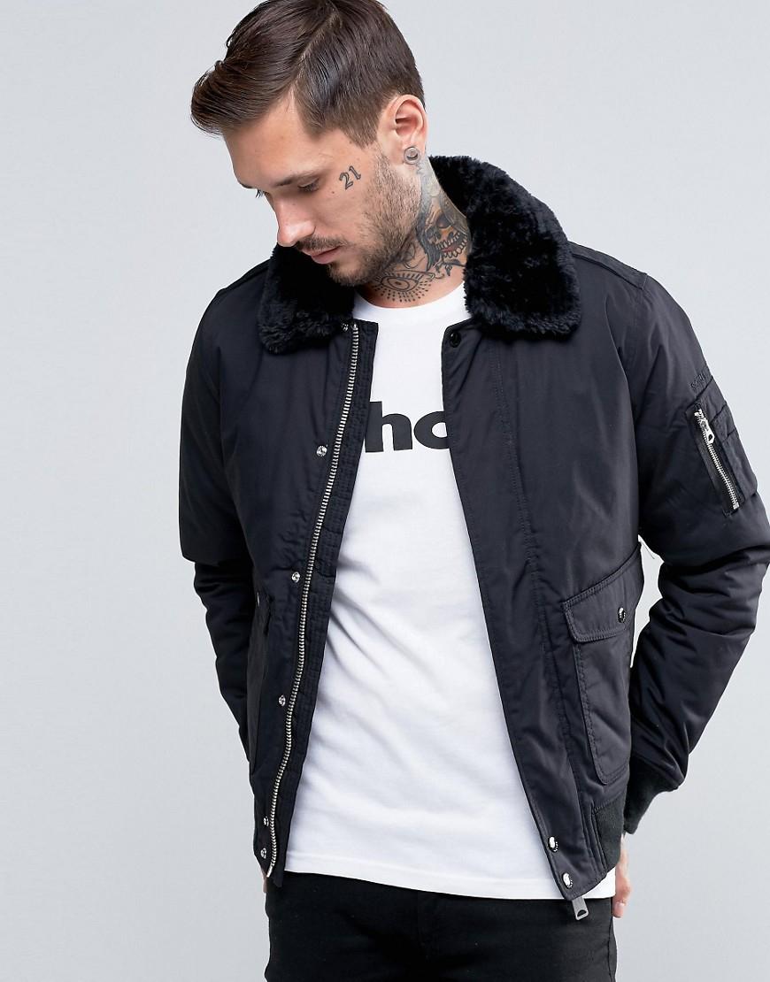 Schott Benson 19 Black Bomber Jacket with Hood For Men