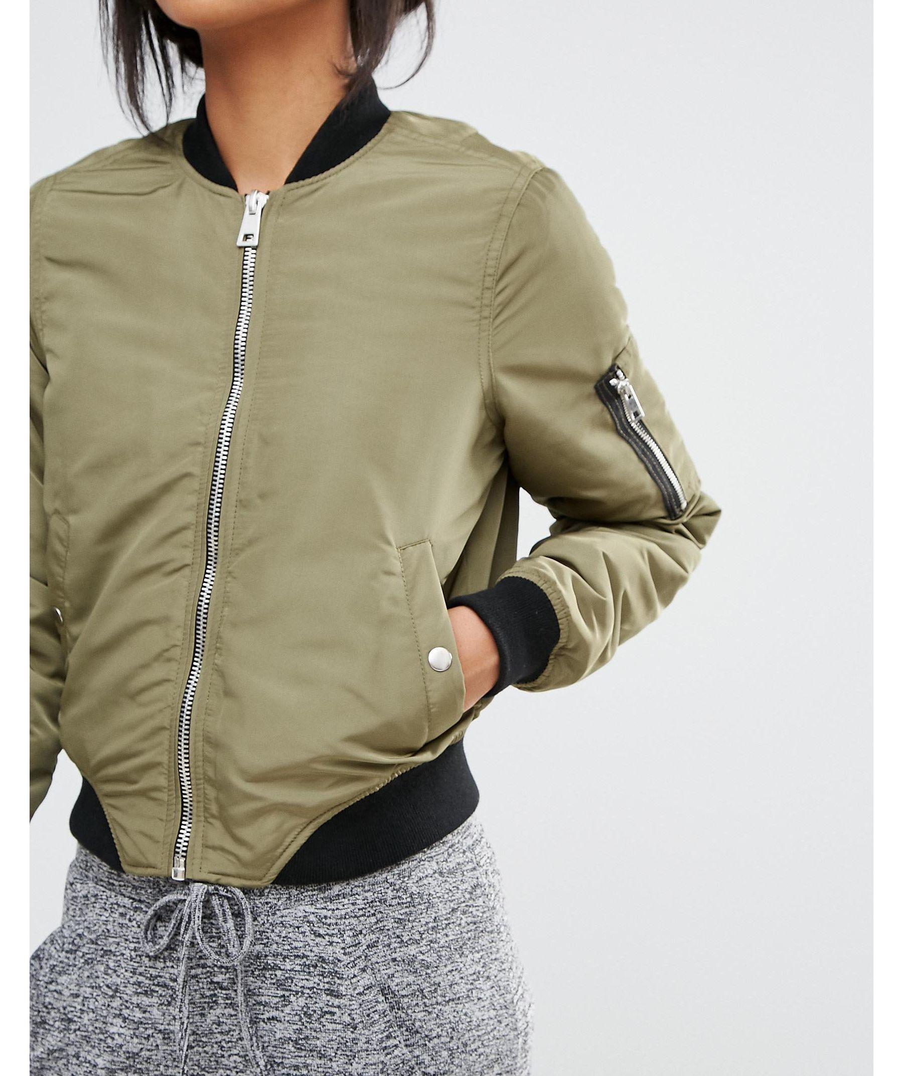 Lyst Vero Moda Contrast Bomber Jacket In Green