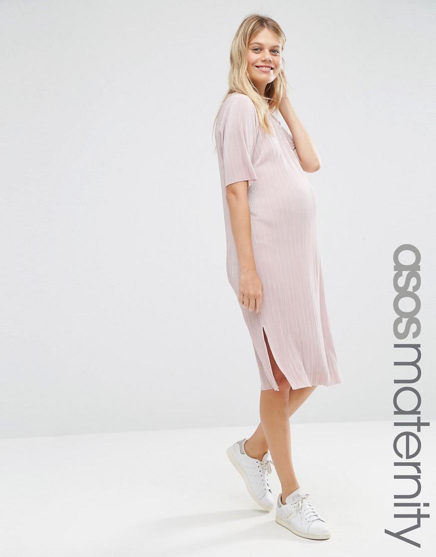 Lyst - Asos Plisse T-shirt Dress in Pink