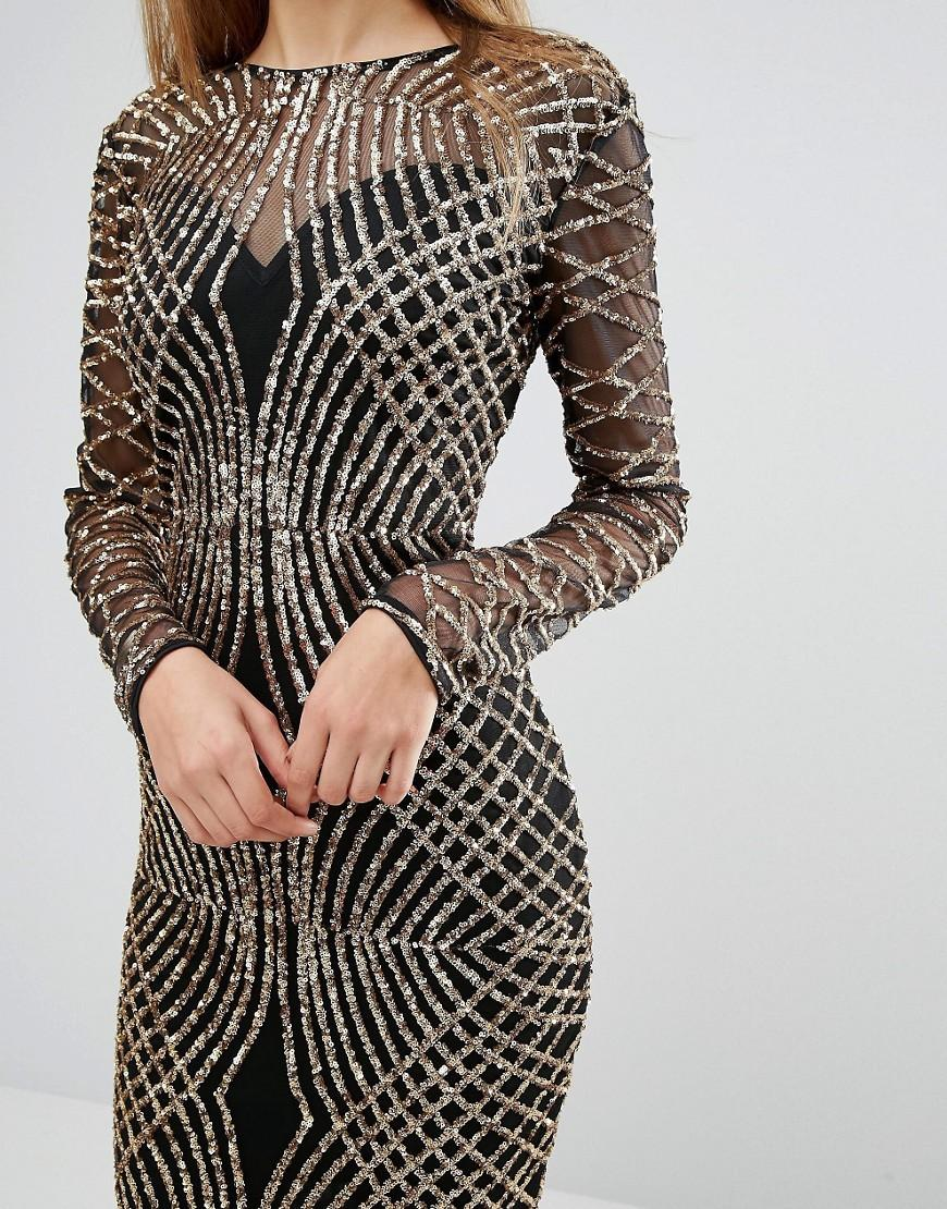 Club L Synthetic Fishtail Maxi Dress With Gold Sequin Placement in Metallic