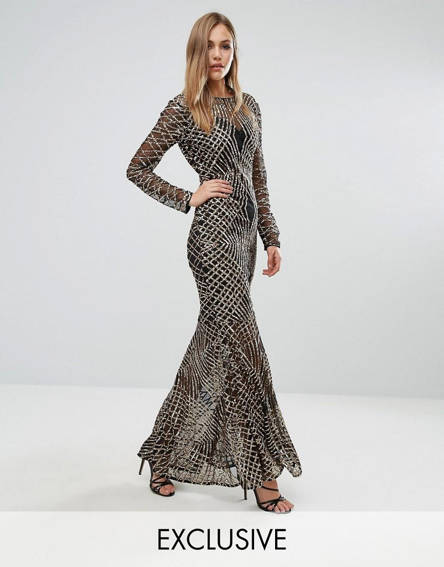 0d5efc5af3 Club L Fishtail Maxi Dress With Gold Sequin Placement in Metallic - Lyst