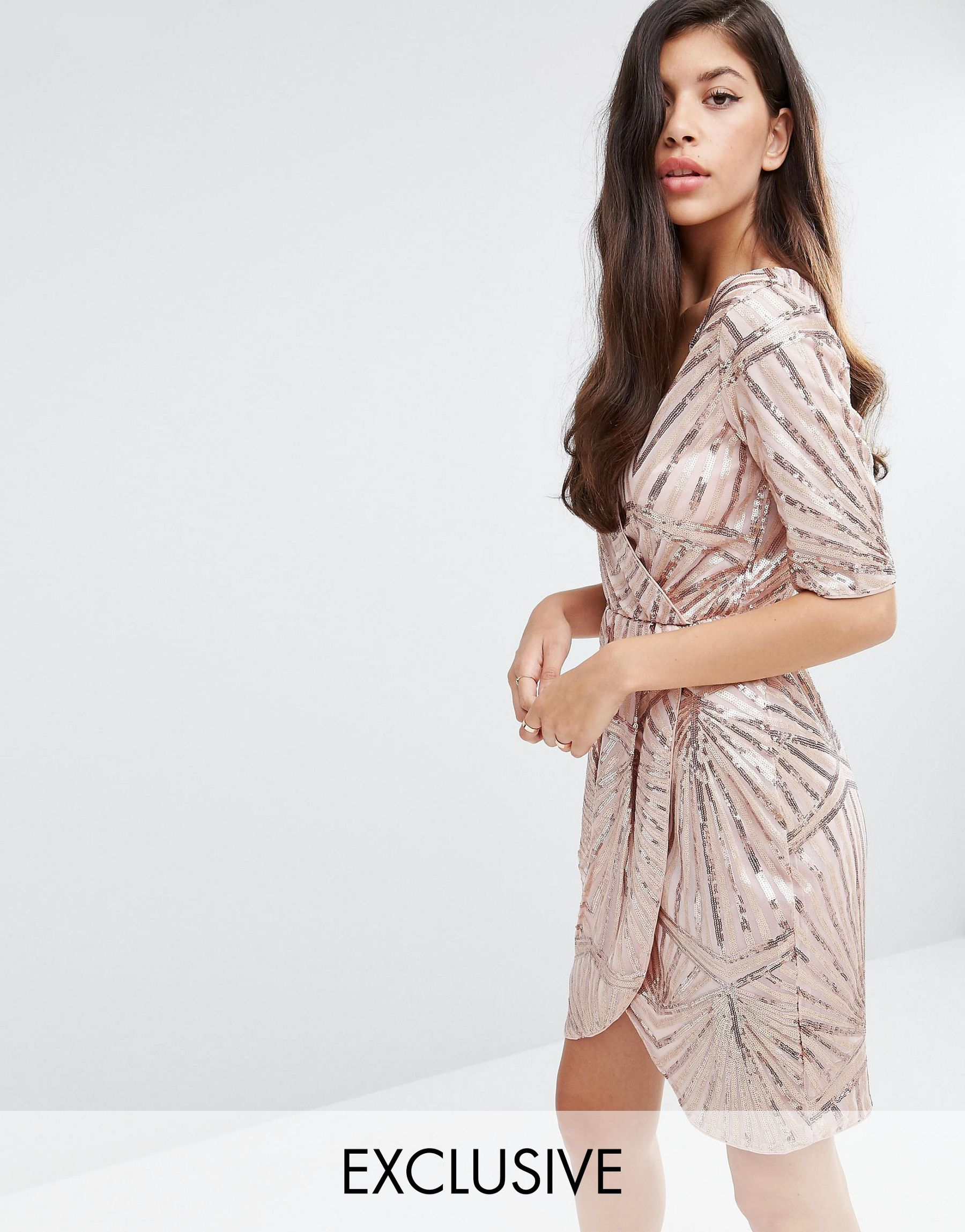 Club L Synthetic Kimono Wrap Sequin Dress Lyst