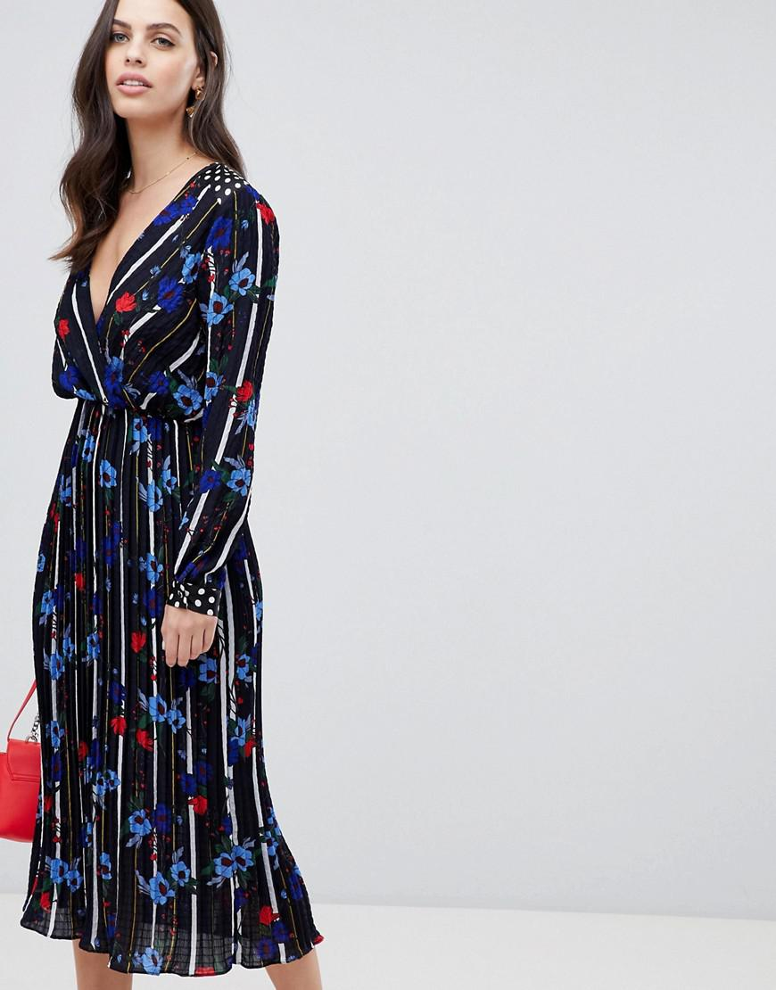 648ef06352c Liquorish Floral And Stripe Print Maxi Dress With Pleated Skirt in ...