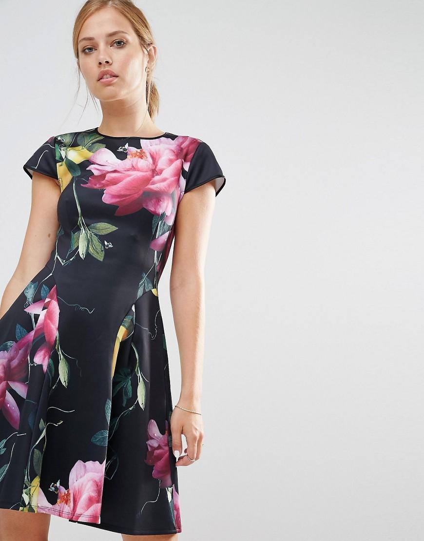 3c61043b4 Ted Baker Allisia Skater Dress In Citrus Bloom Print in Black - Lyst