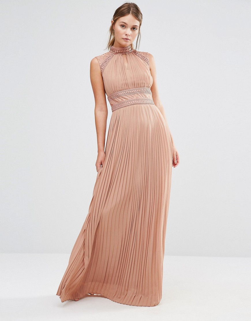 Tfnc london wedding pleated maxi dress with lace detail in for Lace maxi wedding dress