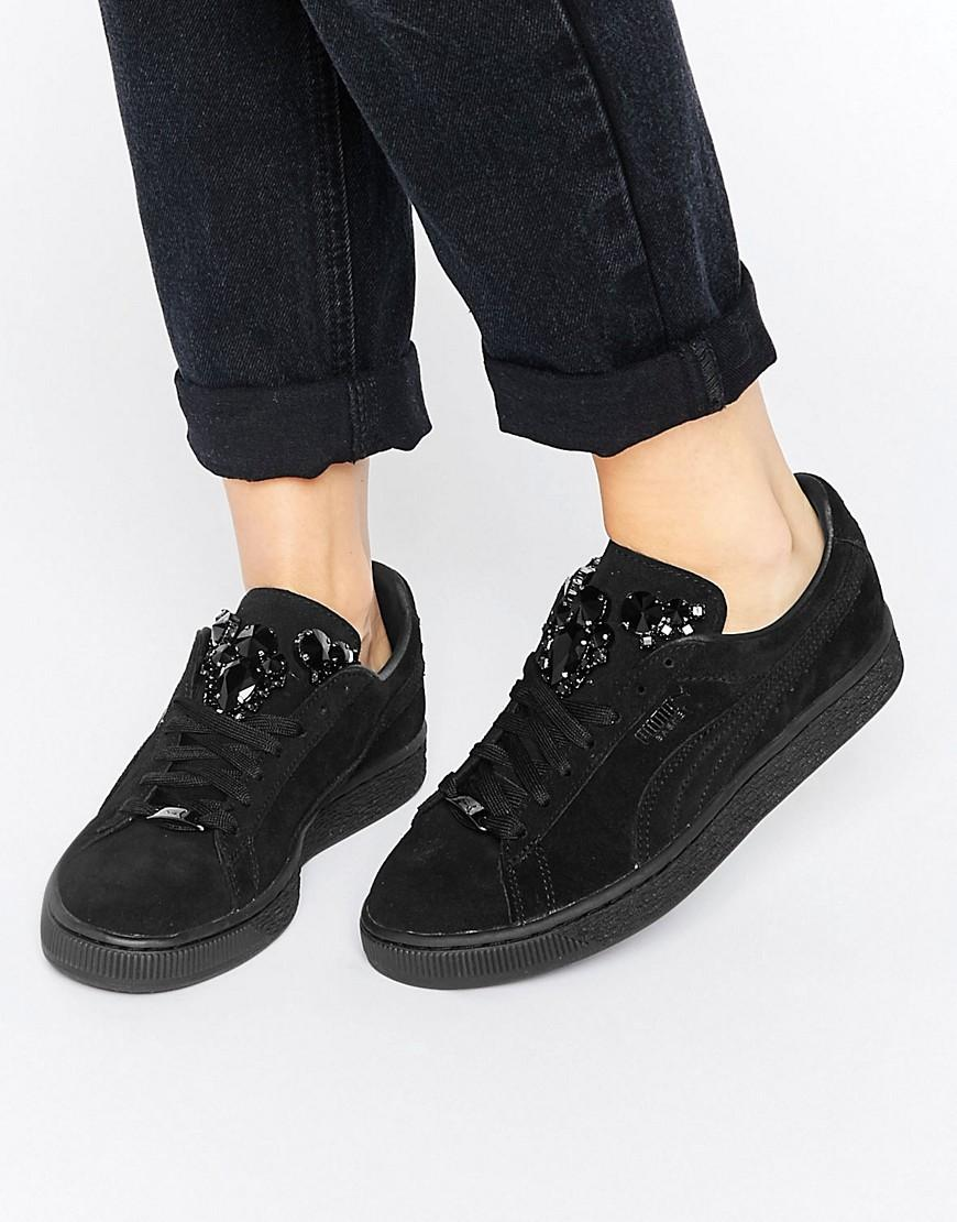 separation shoes f8b56 5c965 PUMA Classic Suede Trainers In Black With Jewel Detail - Lyst