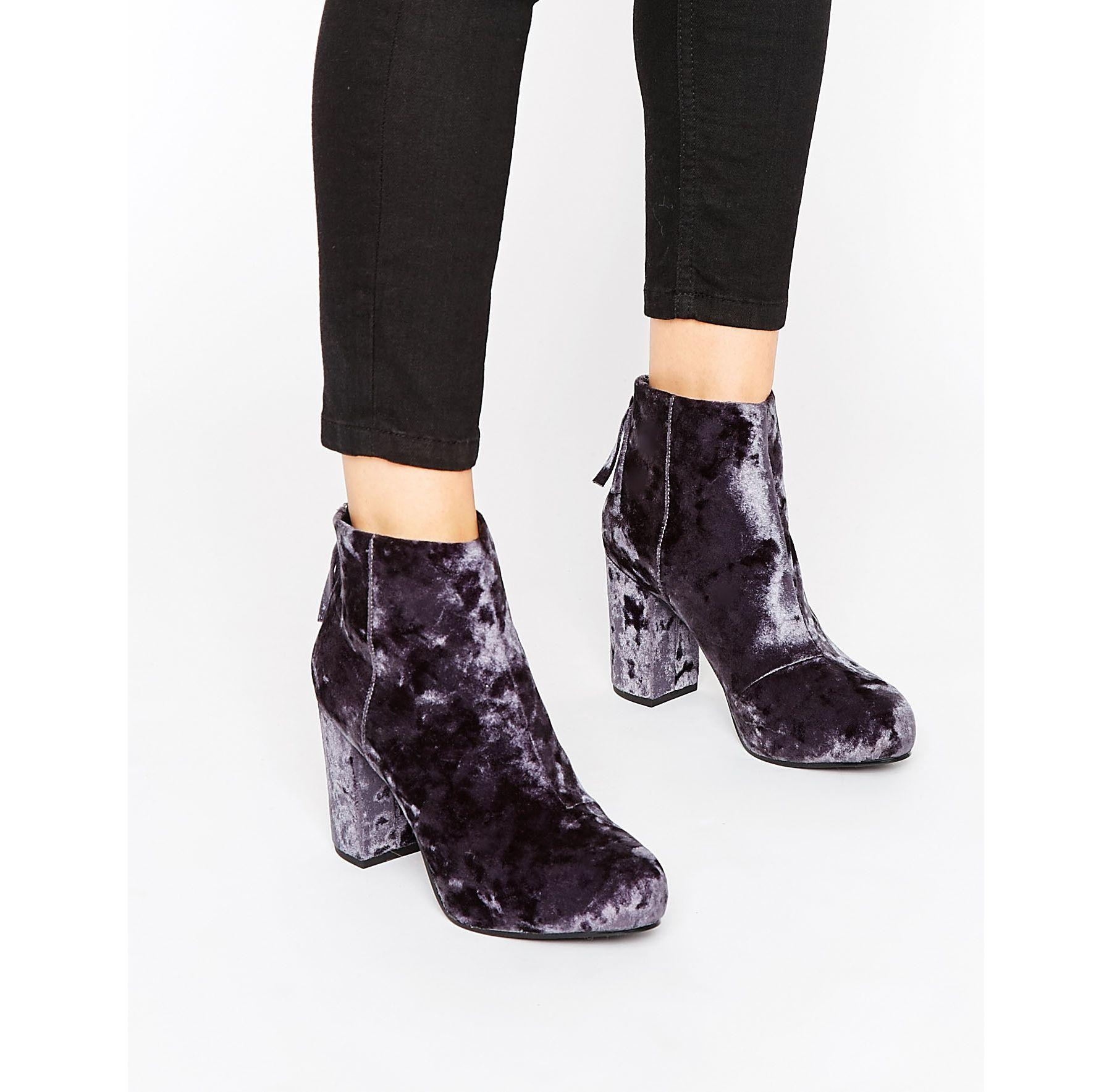 19195a6e7d9 Office Multicolor Annie Gray Velvet Heeled Ankle Boots