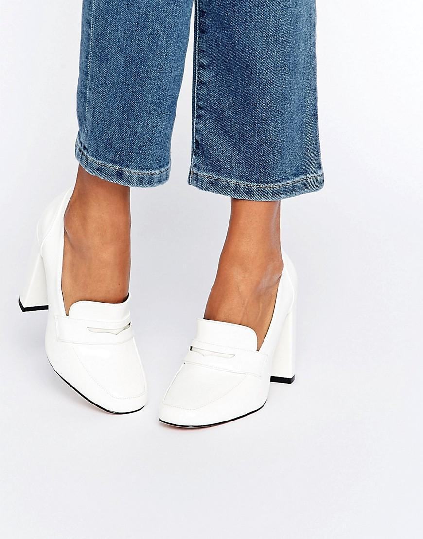 ASOS Leather Pamela Heeled Loafers in