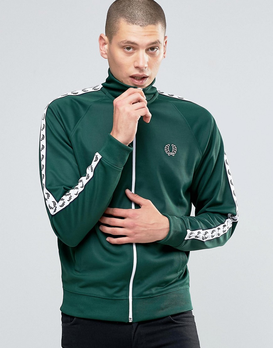 fred perry synthetic sports authentic track jacket in ivy. Black Bedroom Furniture Sets. Home Design Ideas
