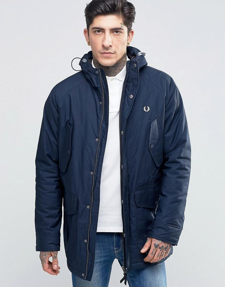 lyst fred perry parka in bright navy in blue for men. Black Bedroom Furniture Sets. Home Design Ideas