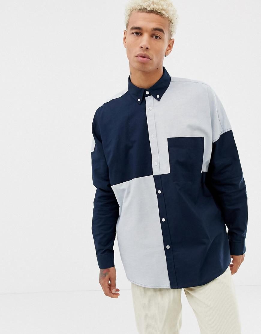 0ebce06ea0 ASOS Oversized Oxford Shirt In Cut & Sew in Blue for Men - Lyst