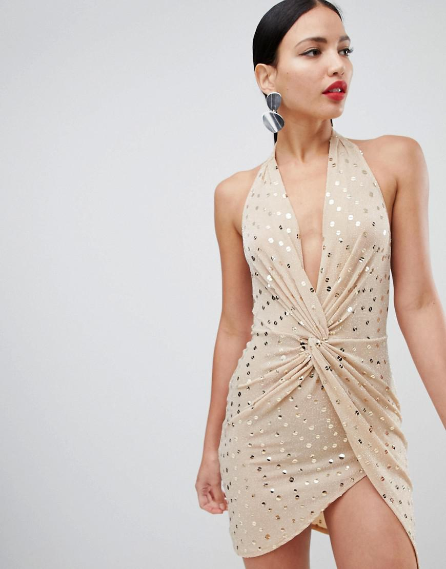 a9876c4333 Flounce London. Women s Metallic Sequin Mini Dress With Twist Front In Gold