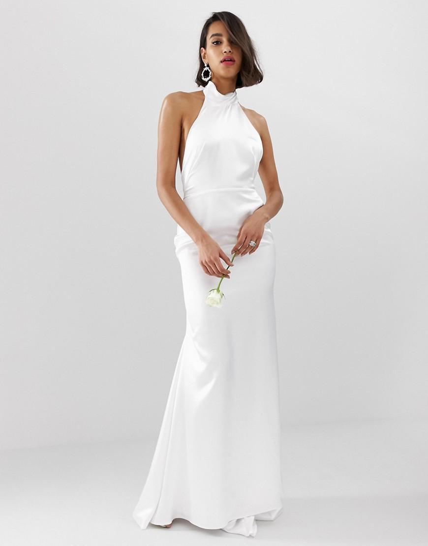 acef58a4b8c Vestido de boda largo con cuello halter y espalda descubierta ASOS ...
