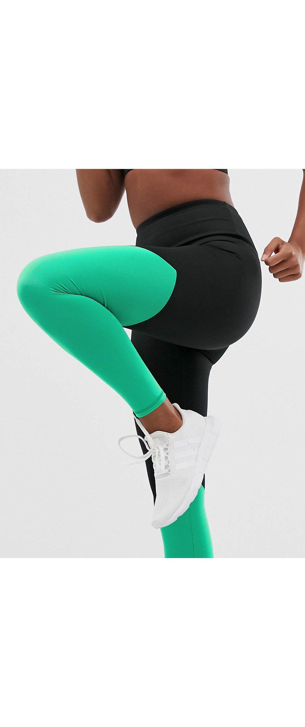 Leggings negros y verdes con detalle dividido South Beach de Tejido sintético de color Negro