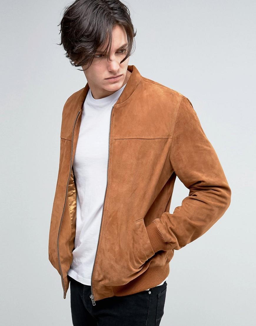 lyst asos lighweight suede bomber jacket in tan in brown for men. Black Bedroom Furniture Sets. Home Design Ideas