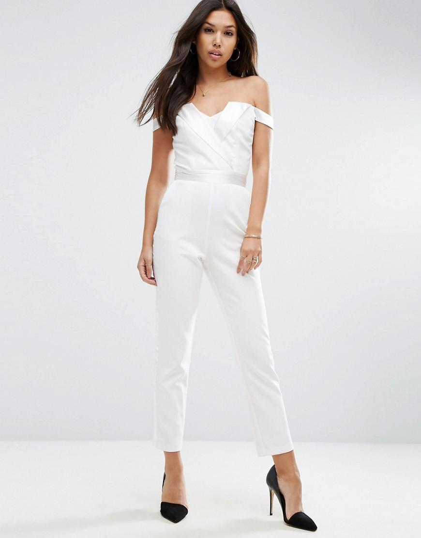 97be5633778 ASOS Bardot Jumpsuit With Tuxedo Detail in White - Lyst