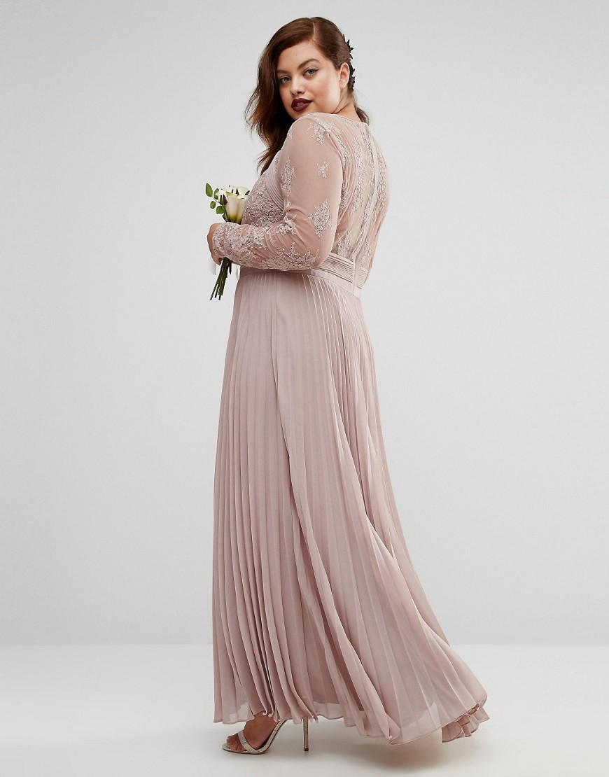 ASOS Wedding Pretty Lace Eyelash Pleated Maxi Dress in Pink