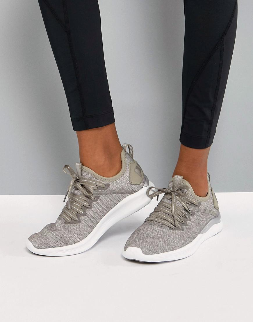 Running Ignite Flash EvoKnit Trainers In sTONE - Grey Puma 45cCL1pe