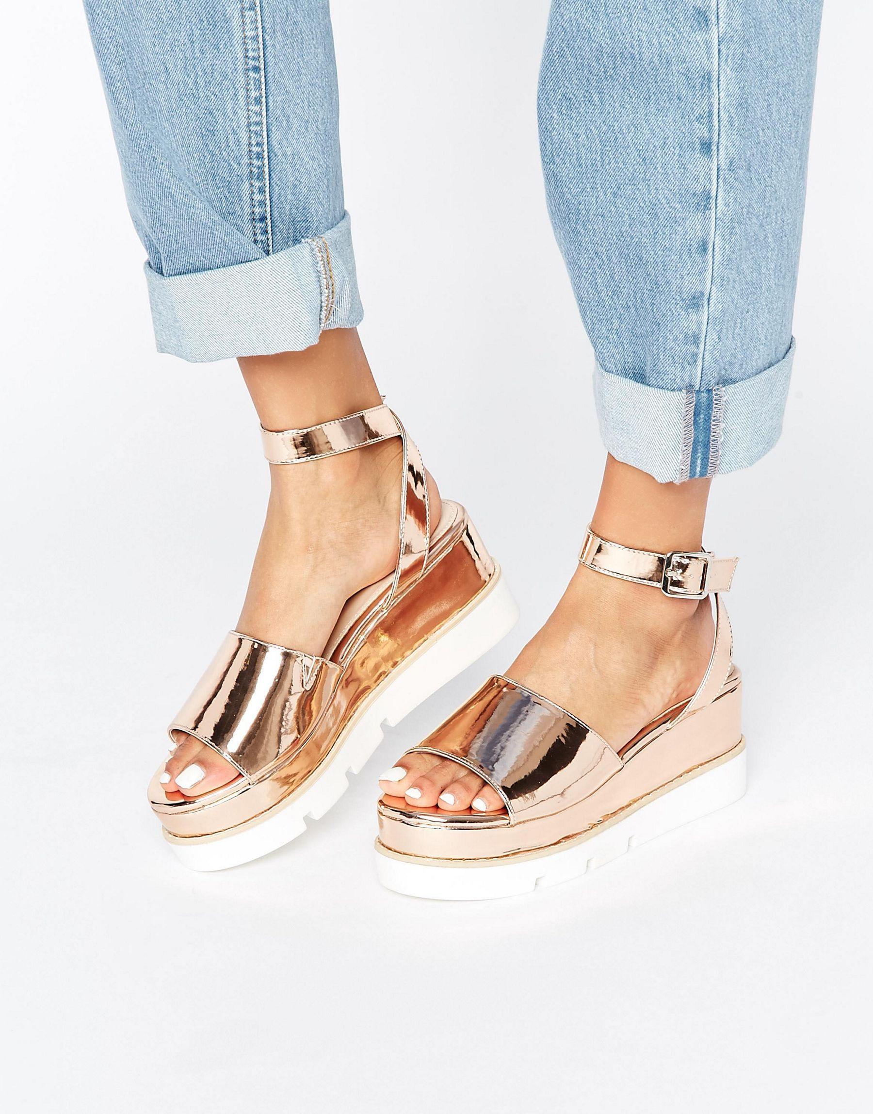 717a3128f73 Lyst - ASOS Tierney Wedge Sandals in Metallic