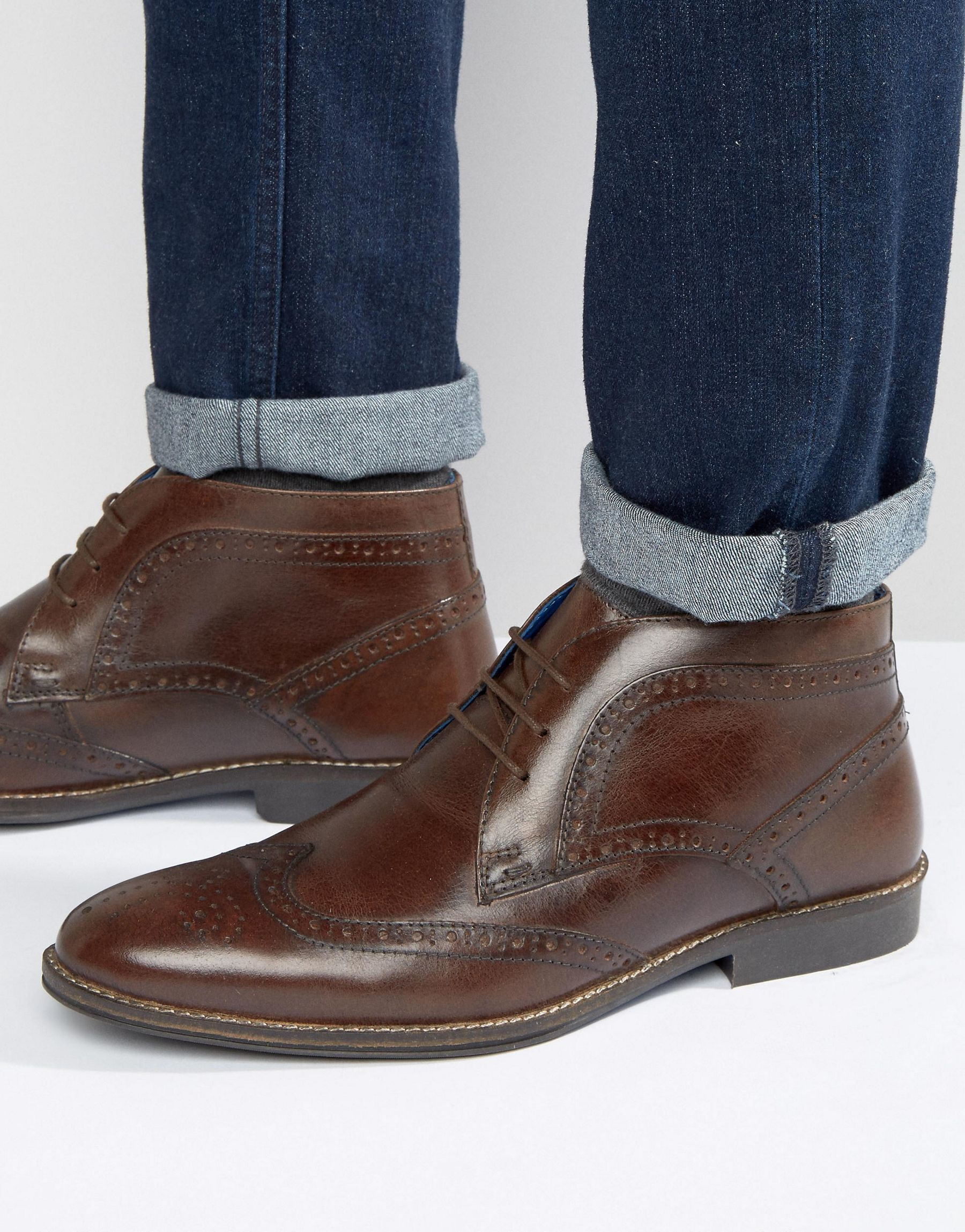 Red tape Brogue Ankle Boots - Brown in Brown for Men | Lyst