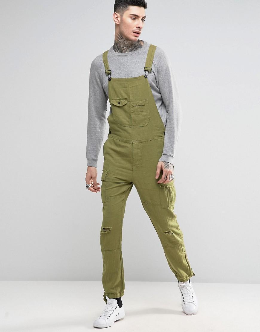 Asos Dungarees In Khaki Linen In Green For Men Lyst
