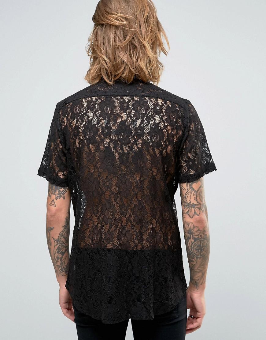 ASOS Regular Fit Lace Shirt In Black for Men