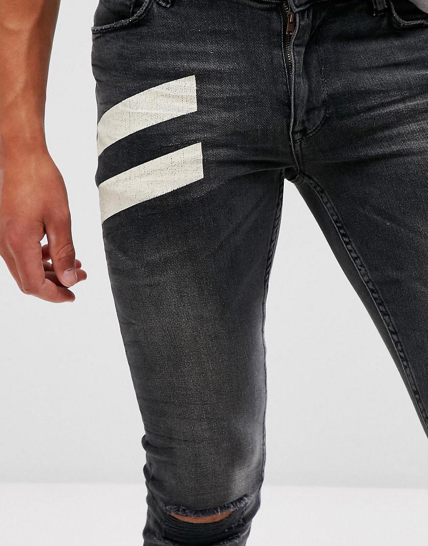 ASOS Denim Extreme Super Skinny Jeans In Vintage Black With White Print for Men