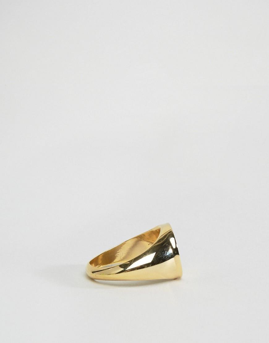 ASOS Denim Pinky Ring With Swallow in Gold (Metallic) for Men